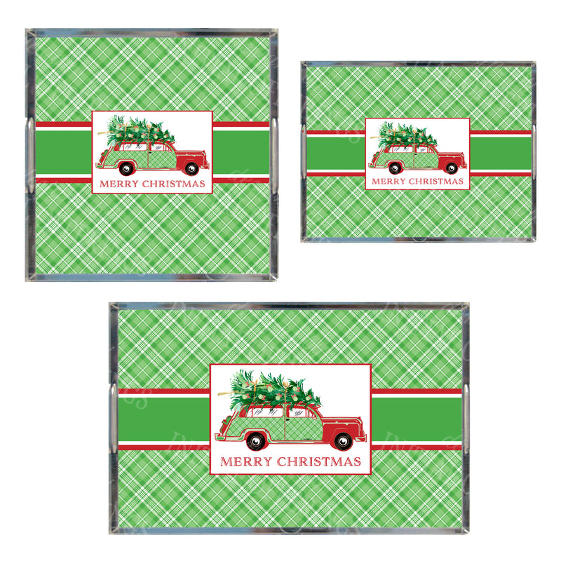 Red and Green Plaid Woody Wagon Acrylic Tray in 3 Sizes
