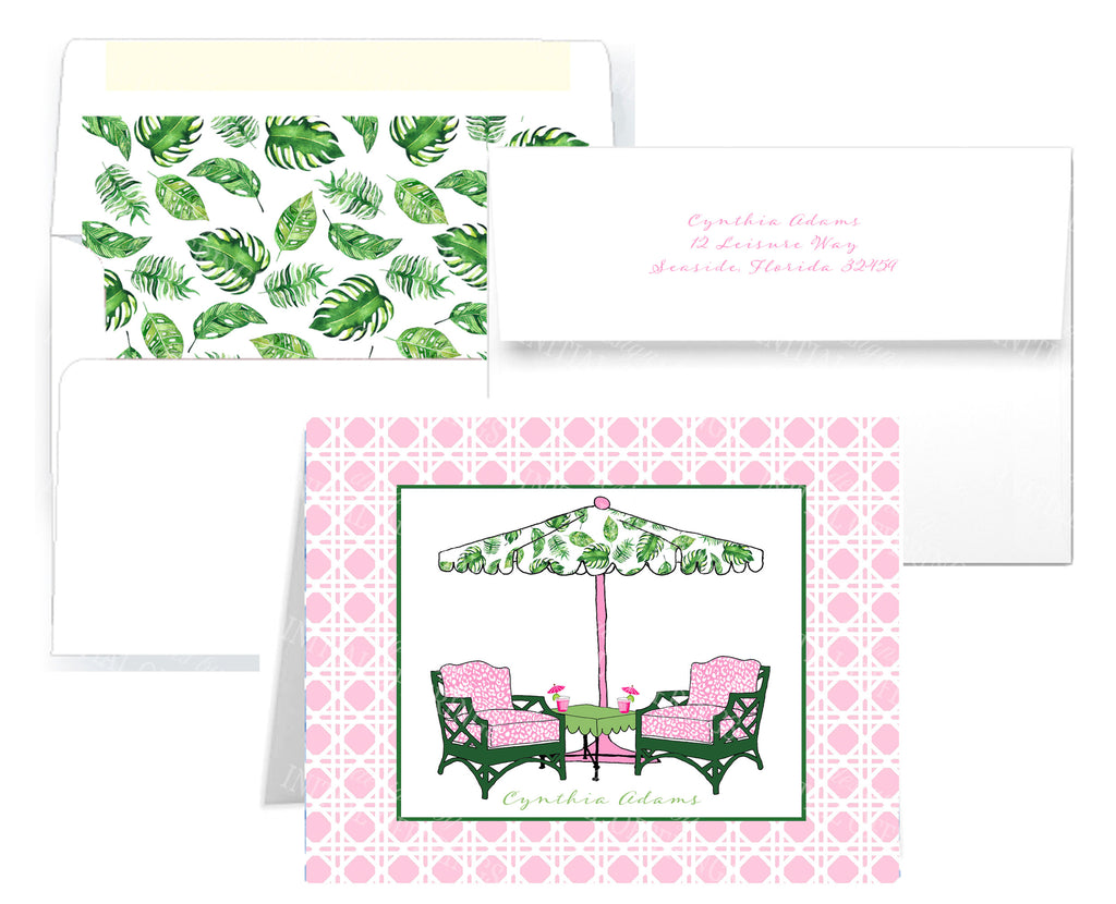 Cocktails Pink and Green Notecards