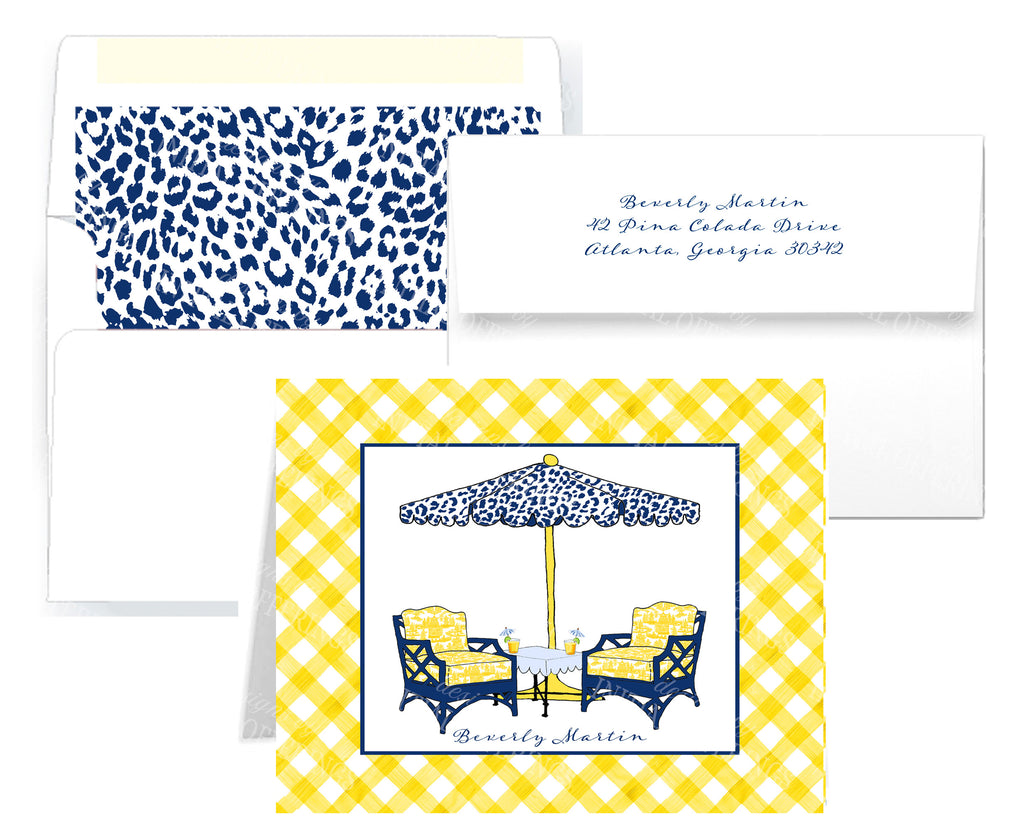 Cocktails Navy and Yellow Notecards