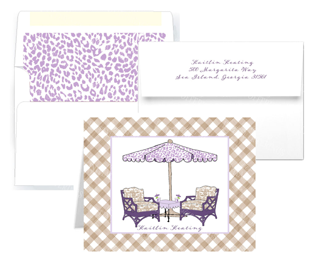 Cocktails Lavender and Khaki Notecards