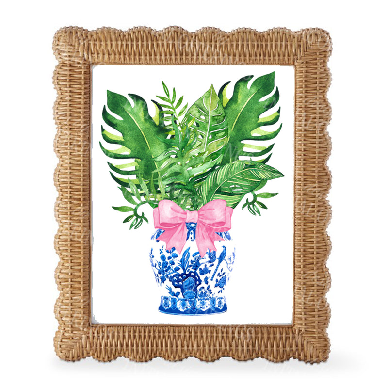 Ginger Jar with Palms Pink Bow Wall Art