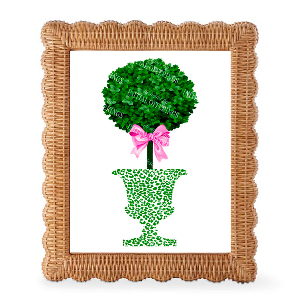 Topiary with Pink Bow in Green Cheetah Urn Wall Art