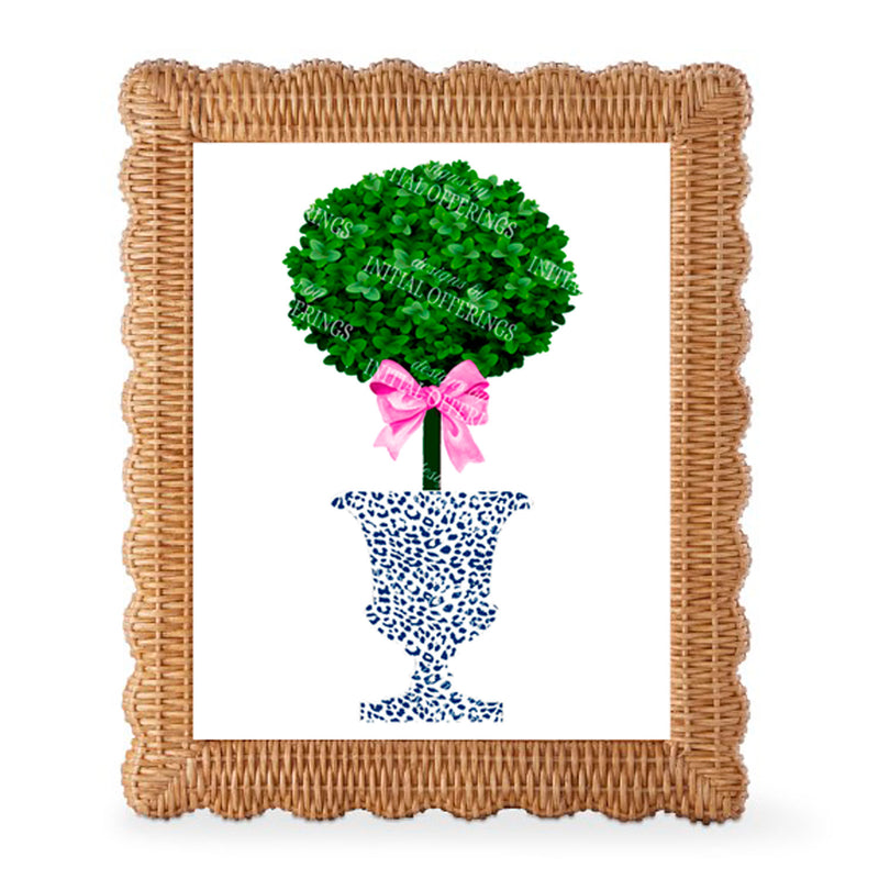 Topiary with Pink Bow in Navy Cheetah Urn Wall Art
