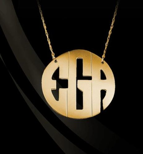 14K Gold or Sterling Silver Block Monogram Necklace