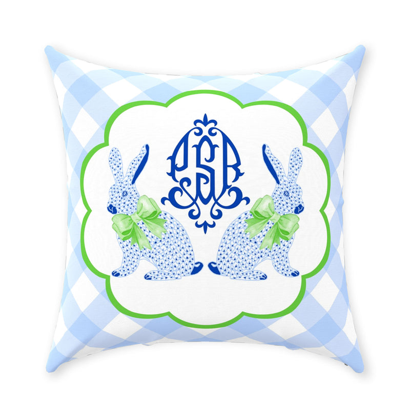 Blue Bunnies Pillow - Available in 5 Sizes