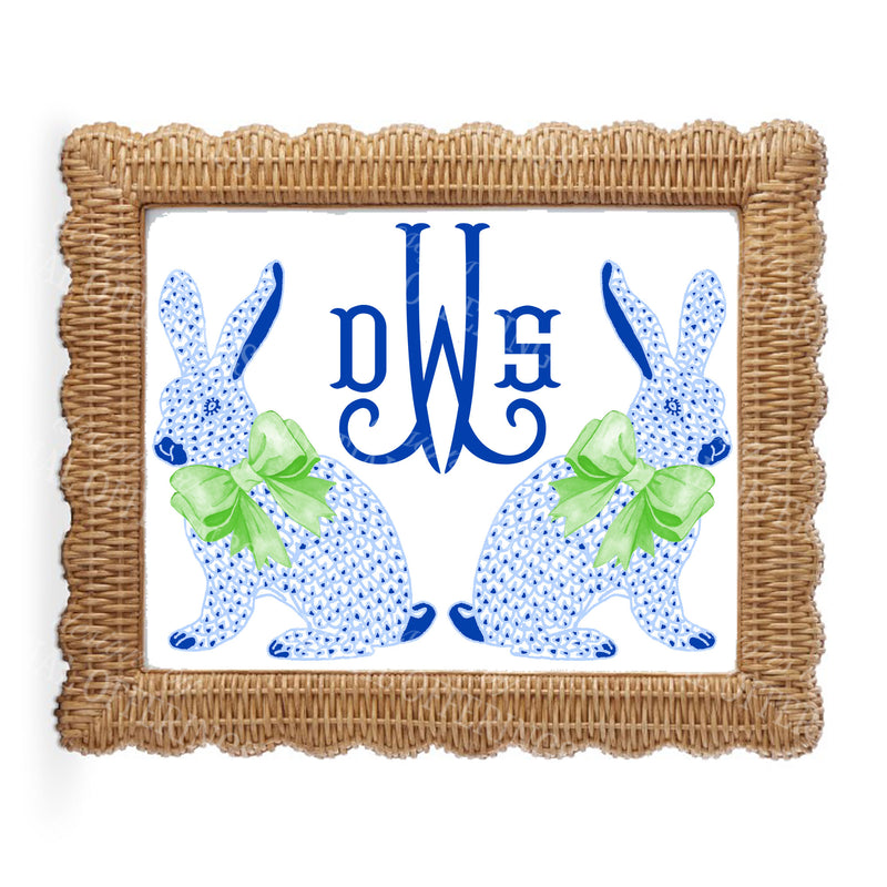 Blue Bunnies Wall Art with Monogram