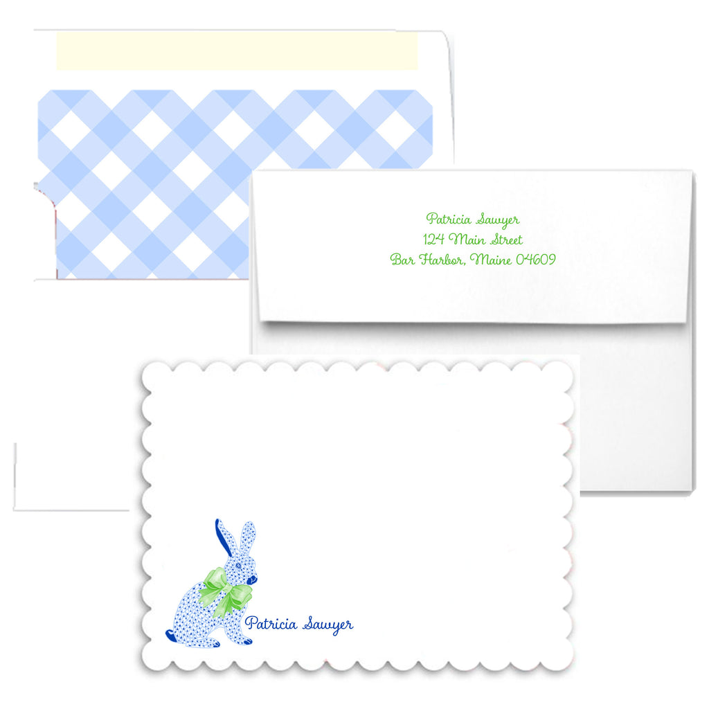Blue Bunny Scalloped Notecards