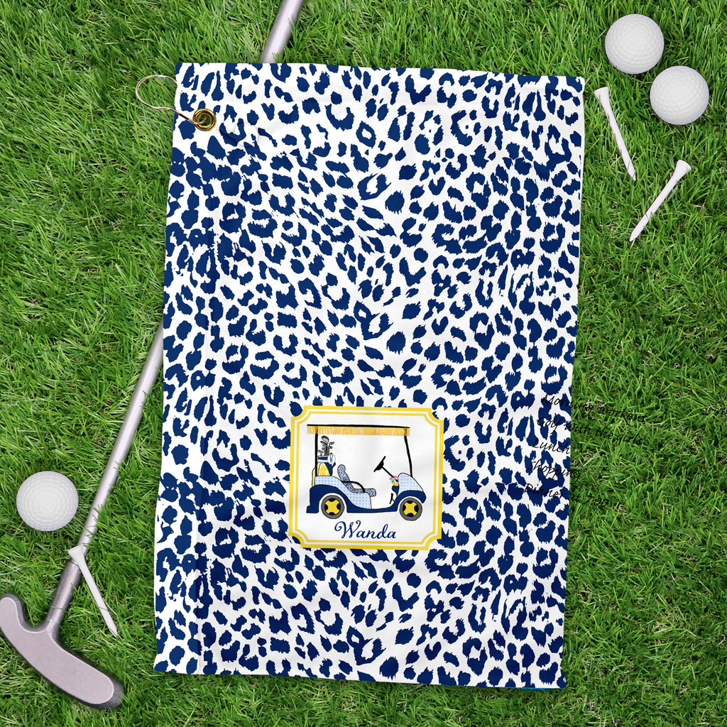 Golf Cart Navy and Yellow Sport Golf Towel
