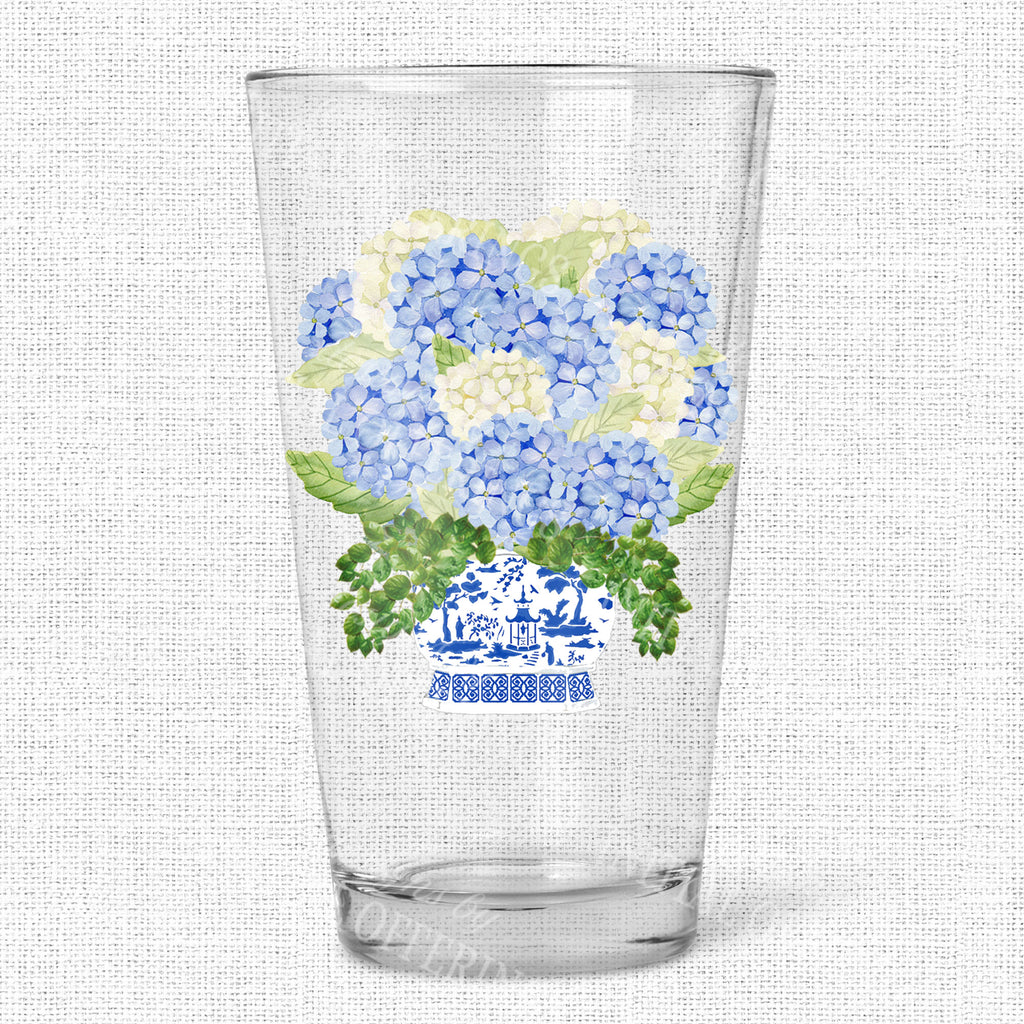 Bouquet Blue Hydrangea Glasses