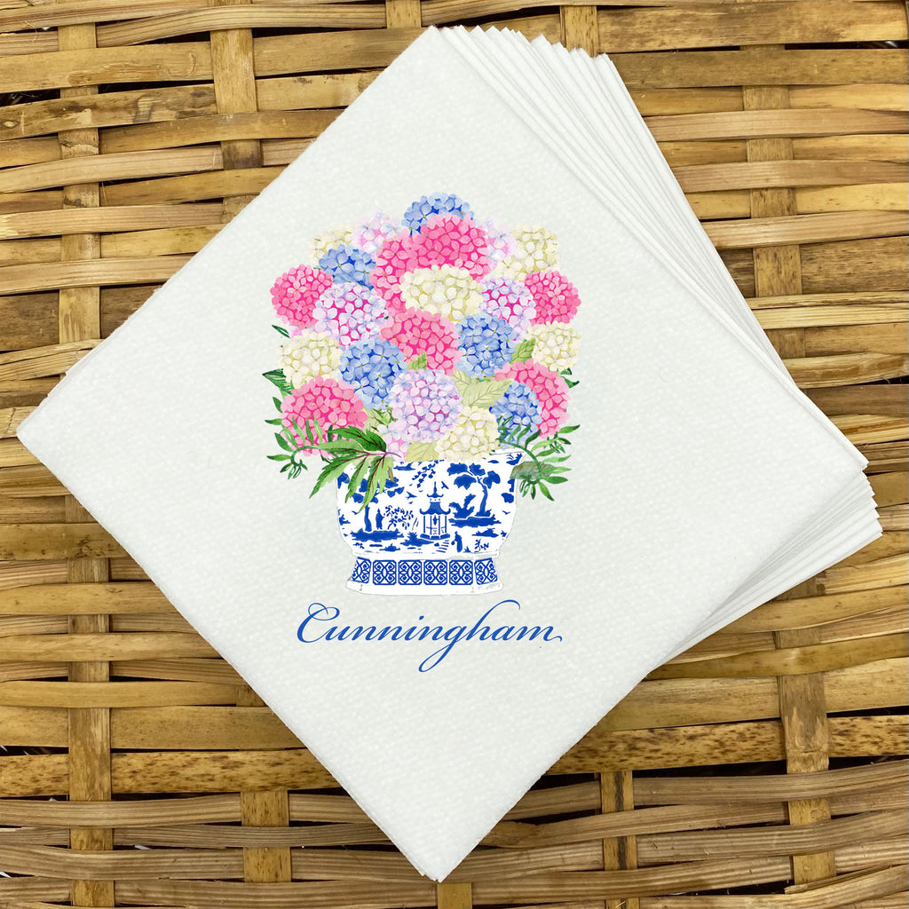 Bouquet Pink Blue Hydrangeas Napkins and Guest Towels
