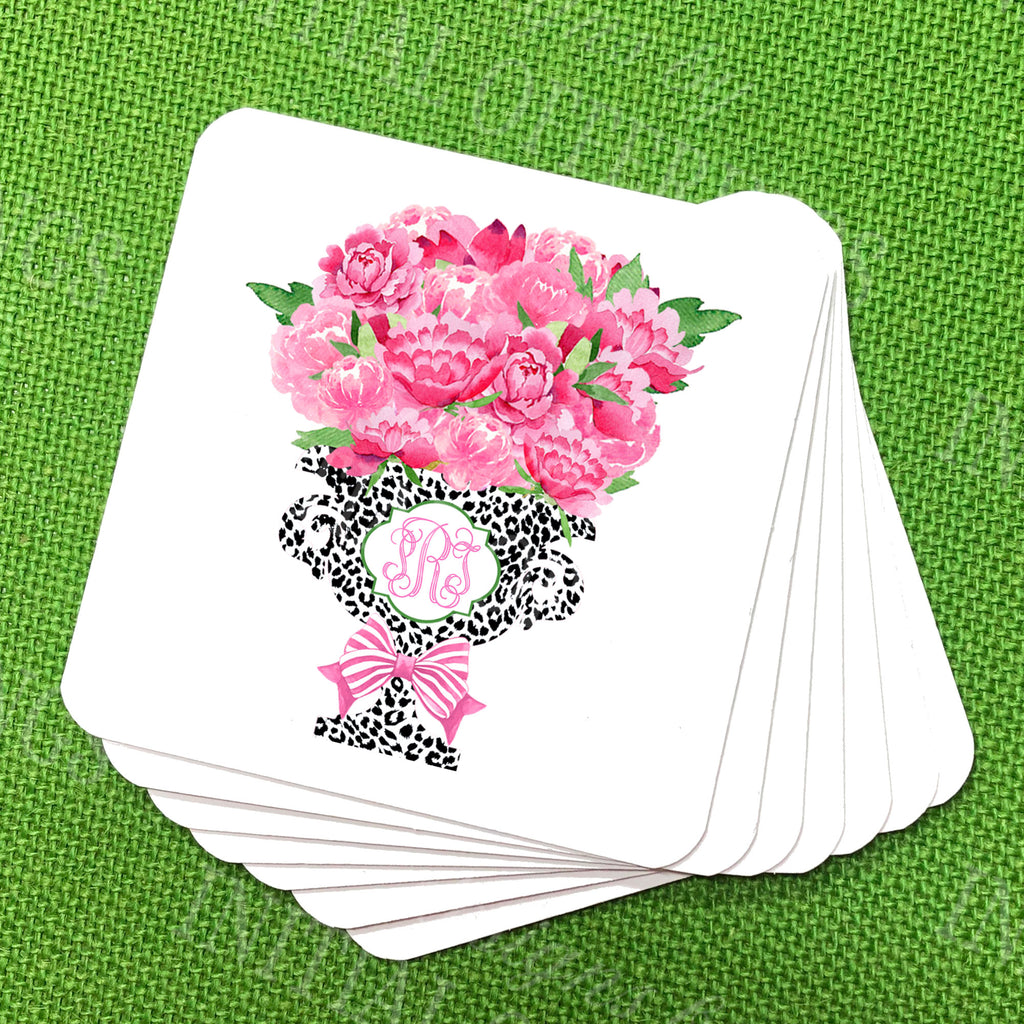 Bouquet Pink Peonies in Black Cheetah Planter Coasters