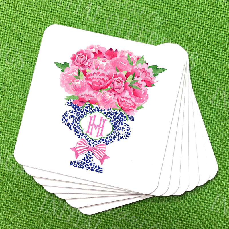 Bouquet Pink Peonies in Navy Cheetah Planter Coasters