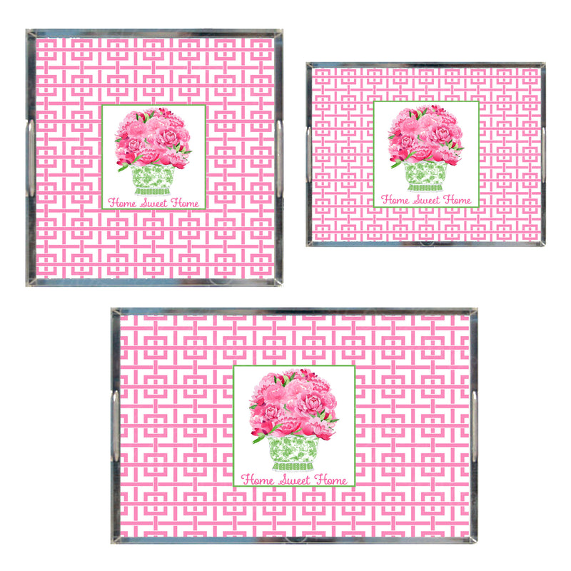 Bouquet Pink Peonies in Green Planter Pink Trellis Acrylic Tray in 3 Sizes