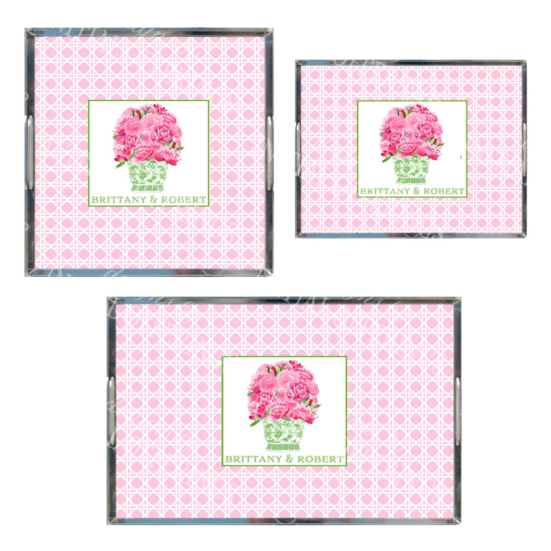 Bouquet Pink Peonies in Green Planter Pink Wicker Acrylic Tray in 3 Sizes