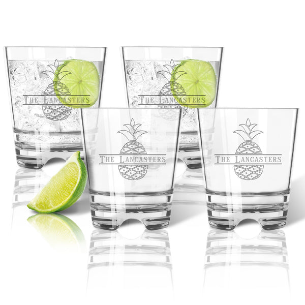 Drinkware Tritan Unbreakable Set of 4 Double Old Fashioned Glasses