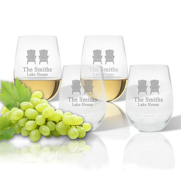 Drinkware Tritan Unbreakable Set of 4 Stemless Wine Glasses