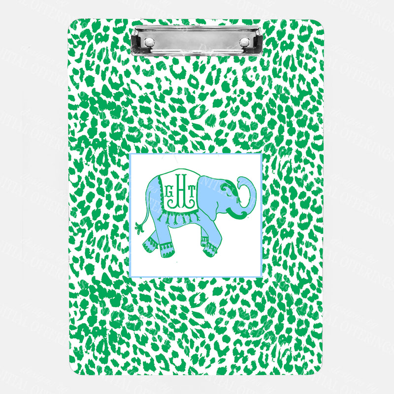 Ellie in Cornflower Blue and Kelly Green with Cheetah Print Clipboard
