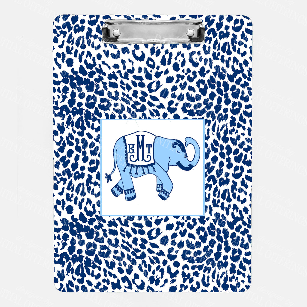 Ellie in Cornflower Blue and Navy with Cheetah Print Clipboard