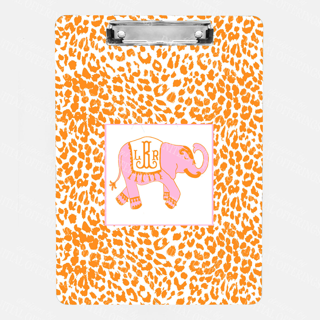 Ellie in Cornflower Pink and Orange with Cheetah Print Clipboard