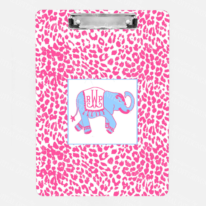 Ellie in Cornflower Blue and Pink with Cheetah Print Clipboard