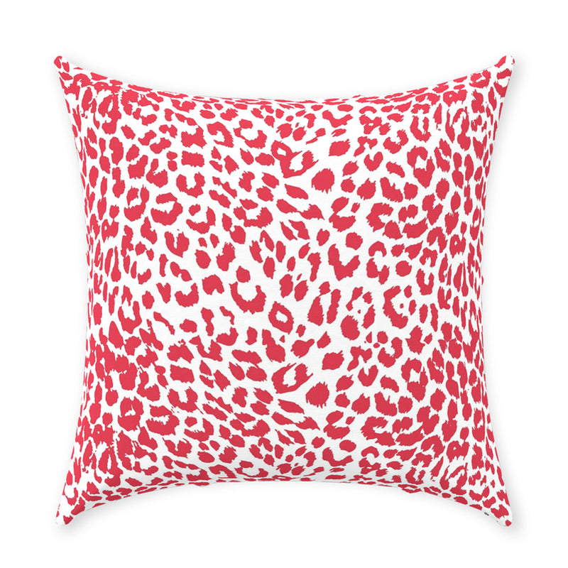 Red and White Cheetah Print Stag Head Swag Pillow
