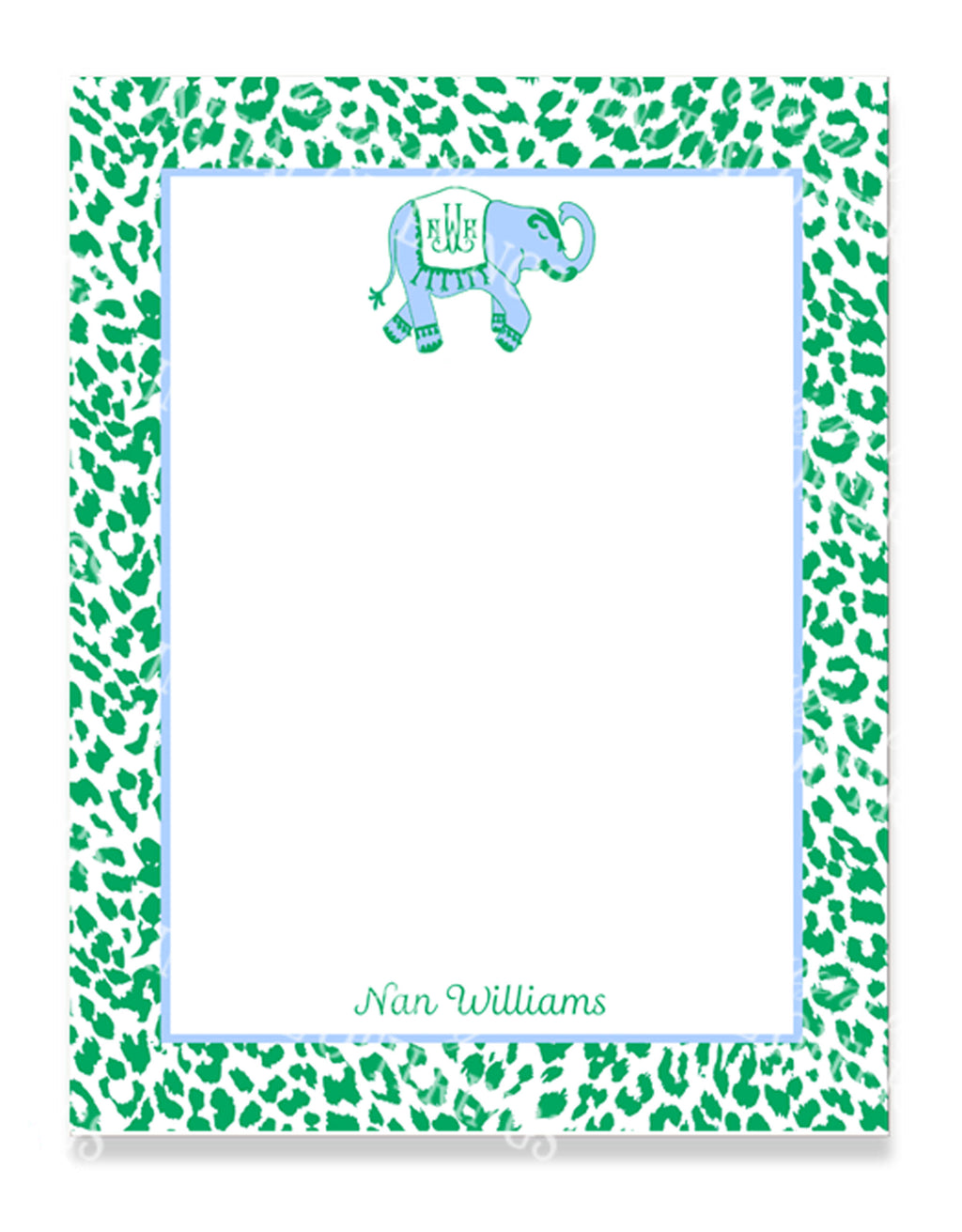 Ellie in Cornflower Blue and Kelly Green Notepad