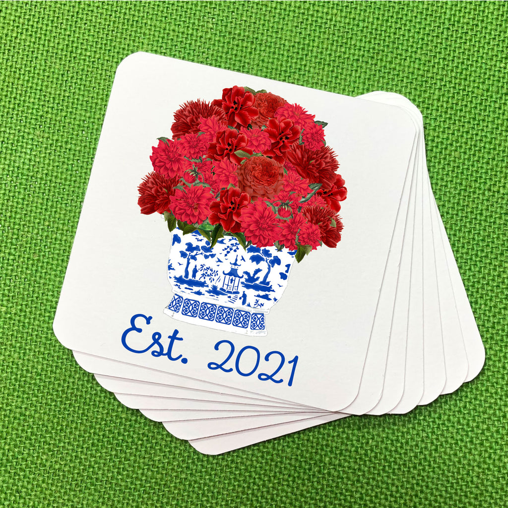 Red Bouquet Coasters