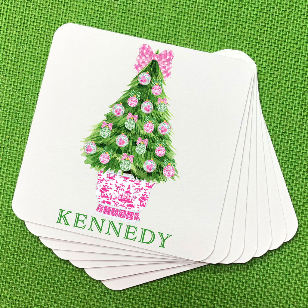 Pink and Green Christmas Tree Coasters
