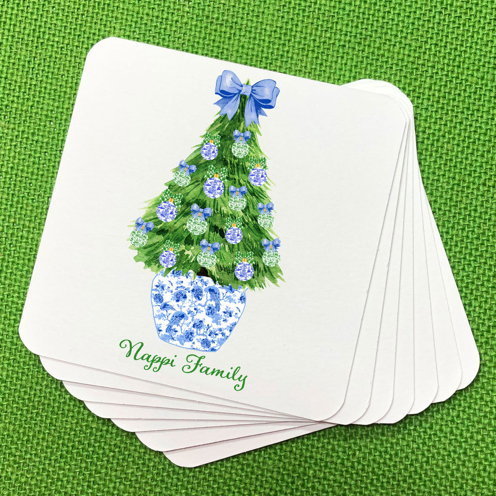 Blue and Green Christmas Tree Coasters