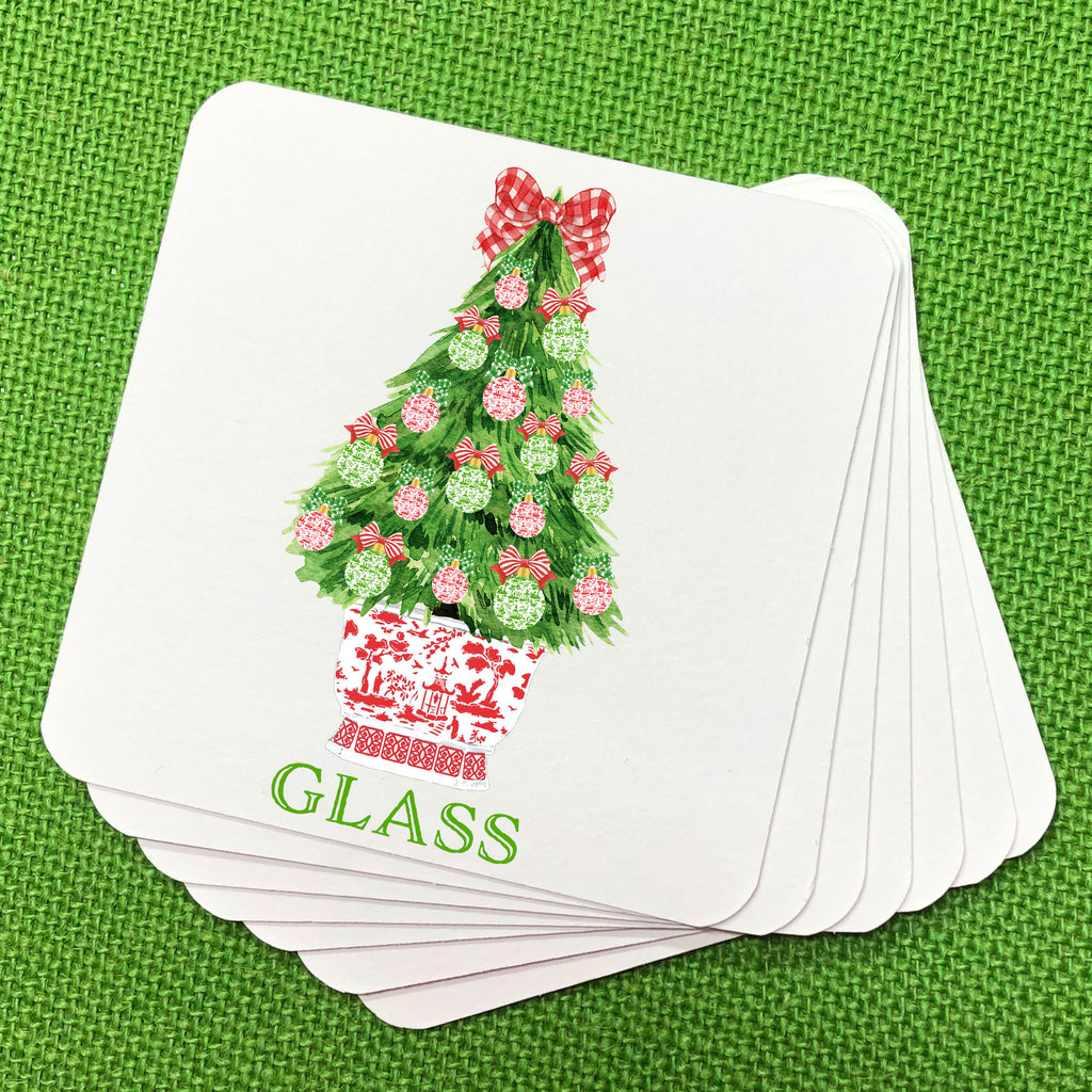 Red and Green Christmas Tree Coasters