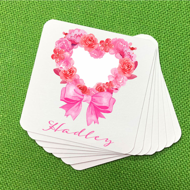 Pink Floral Heart Coasters