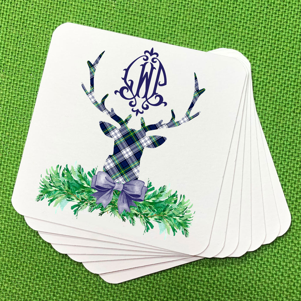 Dress Gordon Tartan Plaid Stag Head Swag Coasters