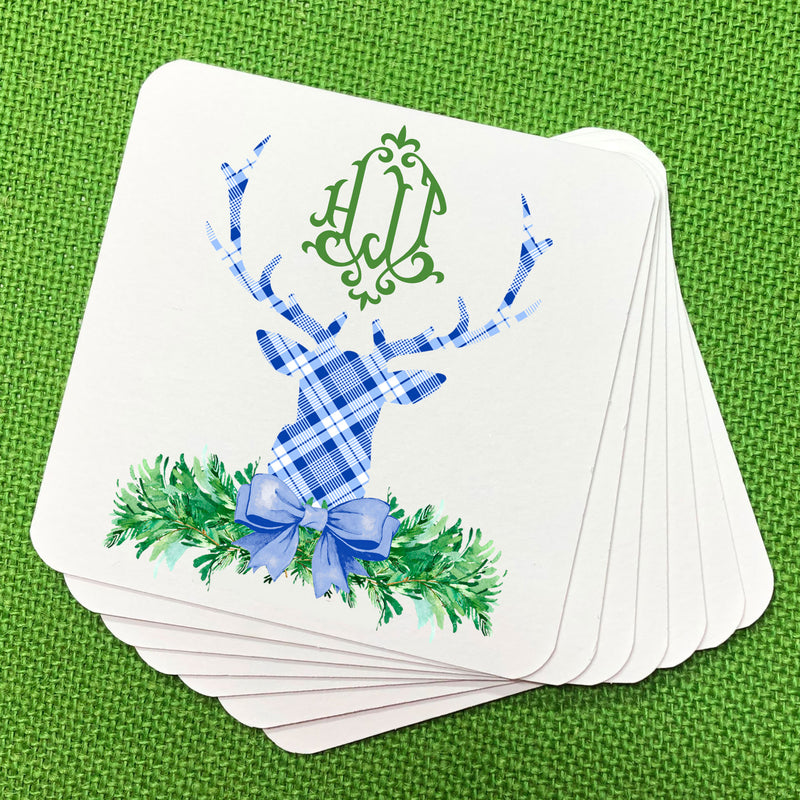 Blue and White Plaid Stag Head Swag Coasters