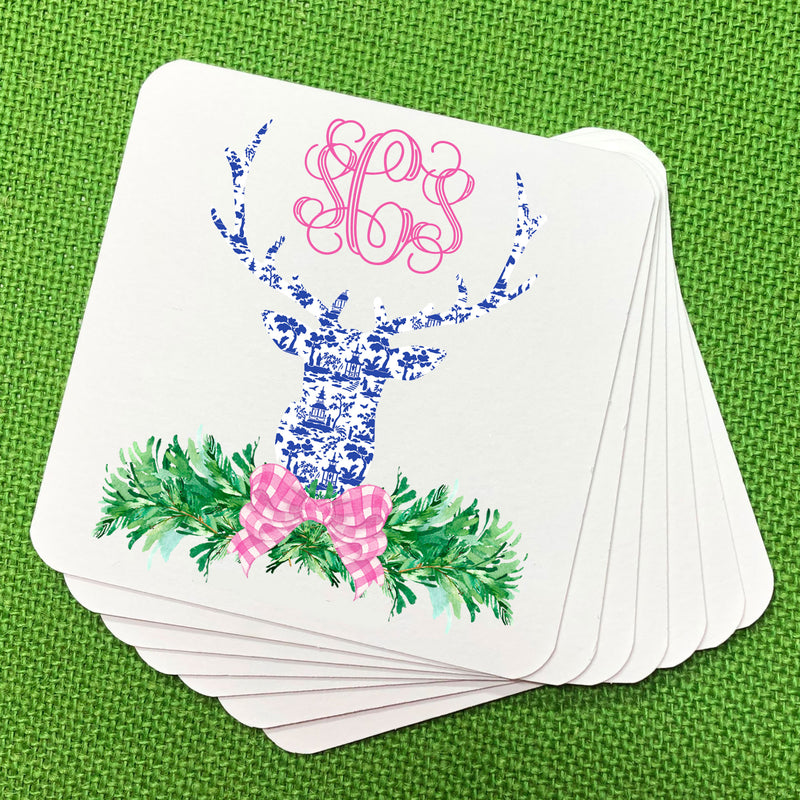 Pink and Blue Pagoda Toile Stag Head Swag Coasters