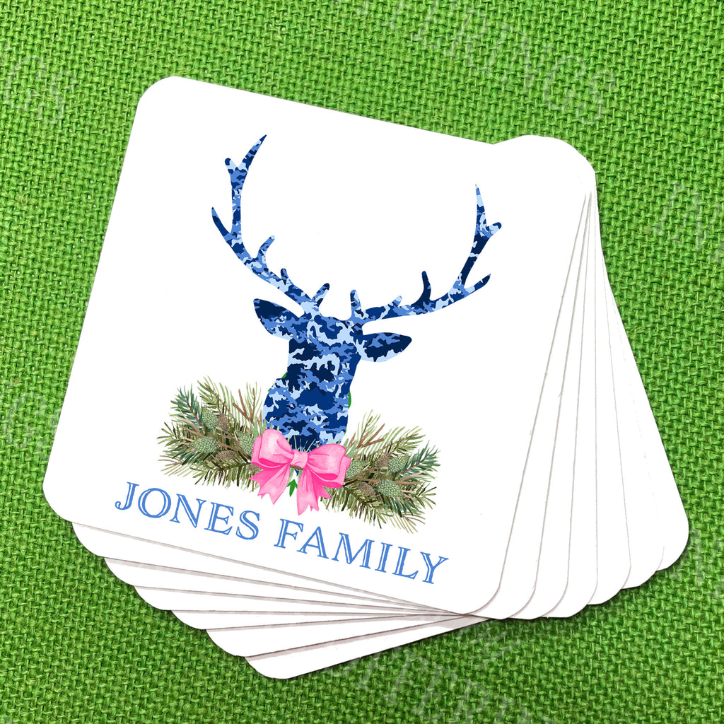 Blue Camo Stag Head Swag Coasters