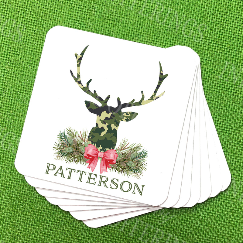Green Camo Stag Head Swag Coasters