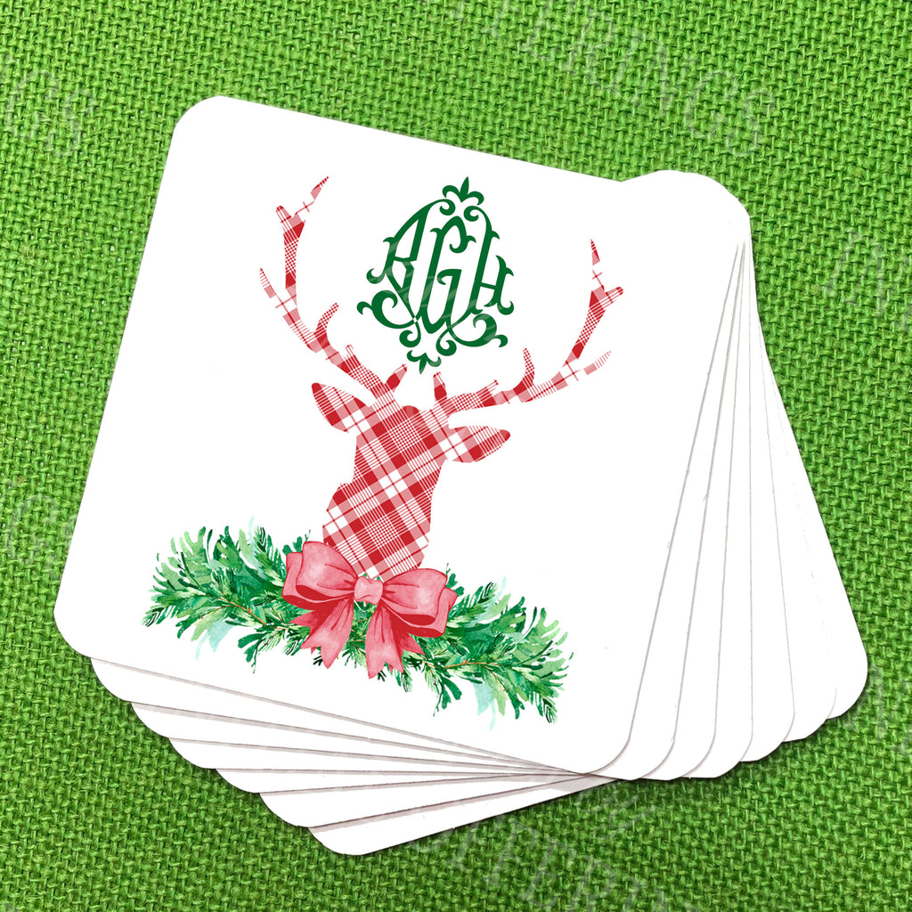 Red and White Plaid Stag Head Swag Coasters
