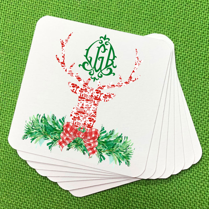 Red and White Pagoda Toile Stag Head Swag Coasters