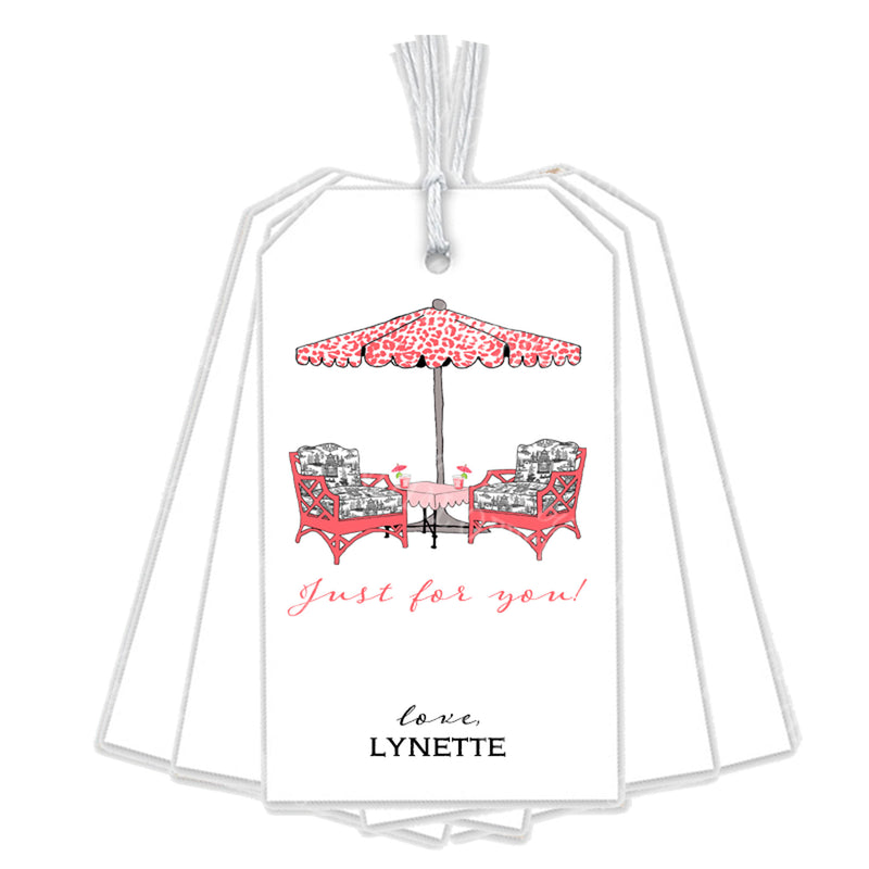 Cocktails Coral and Black Gift Tags