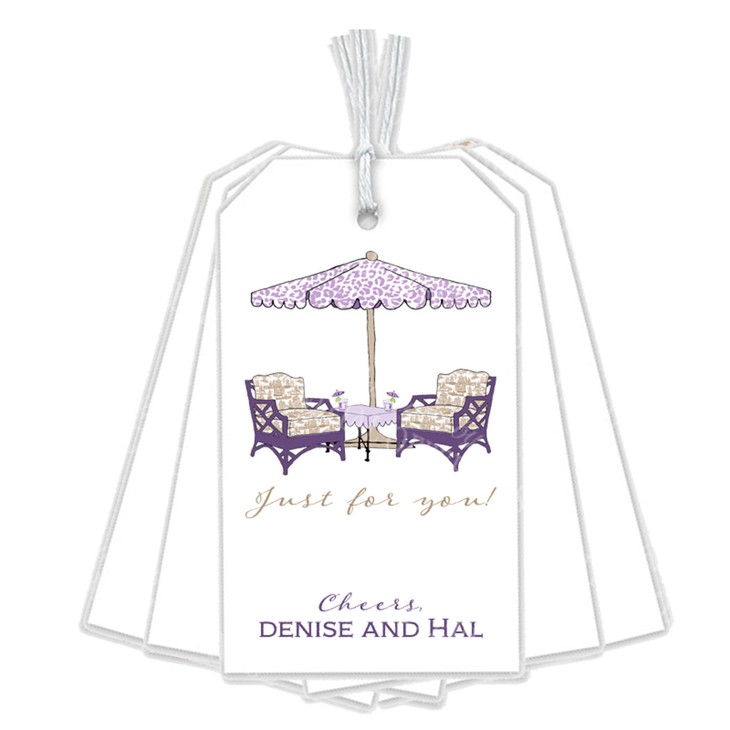 Cocktails Lavender and Khaki Gift Tags