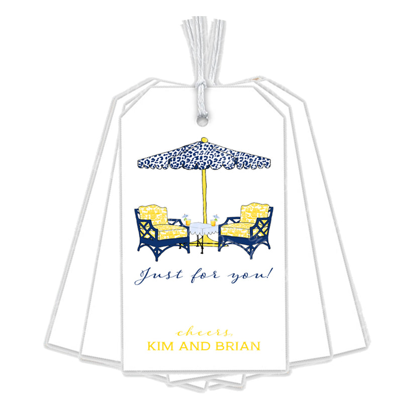 Cocktails Navy and Yellow Gift Tags