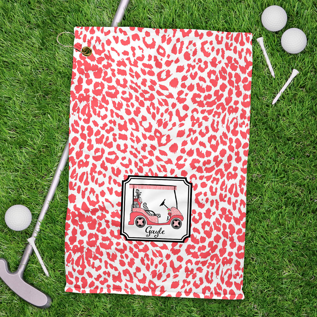 Golf Cart Coral and Black Sport Golf Towel