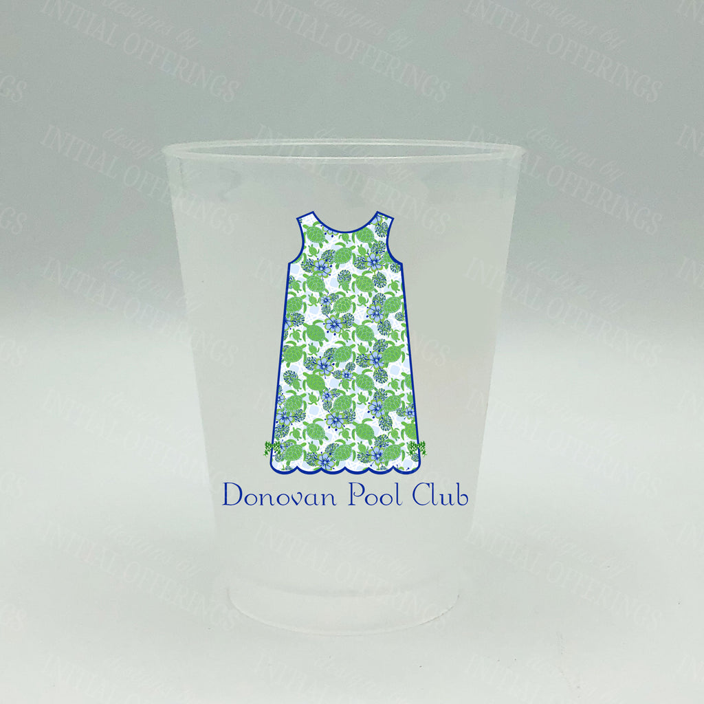 Kiwi Turtle Print Shift Dress Shatterproof Frost Cups - Personalized