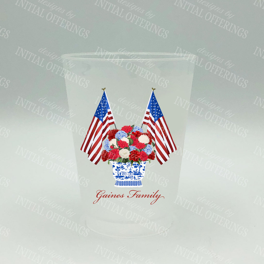 Patriotic Bouquet Full Color Shatterproof Frost Cups - Personalized