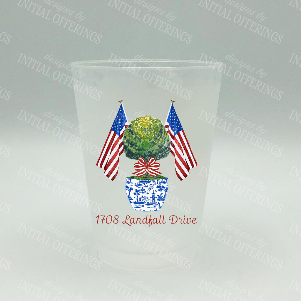 Patriotic Topiary Full Color Shatterproof Frost Cups - Personalized