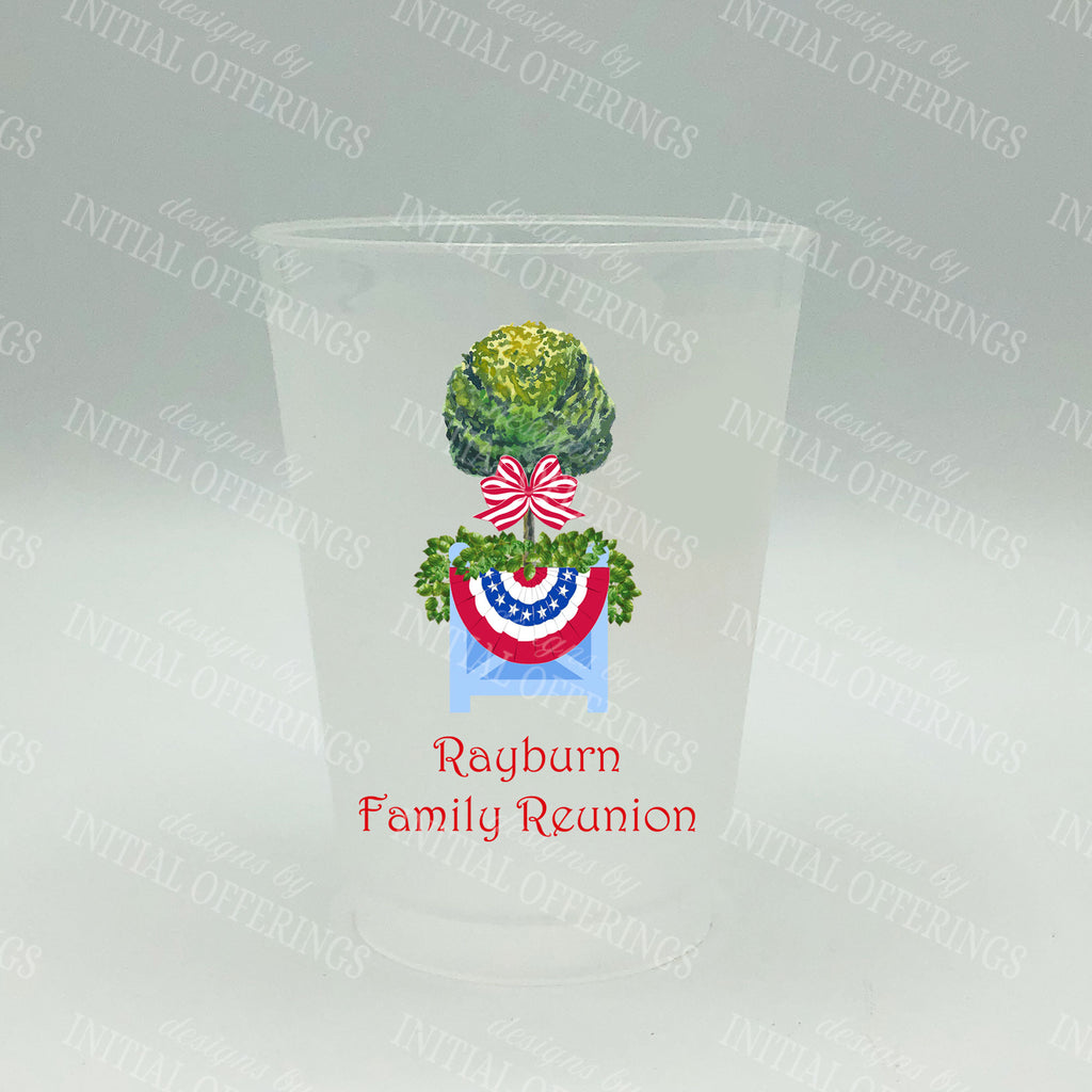 Patriotic Topiary with Bunting Full Color Shatterproof Frost Cups - Personalized