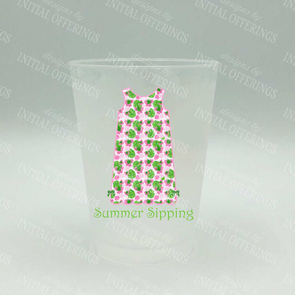 Pink Pineapple Print Shift Dress Shatterproof Frost Cups - Personalized