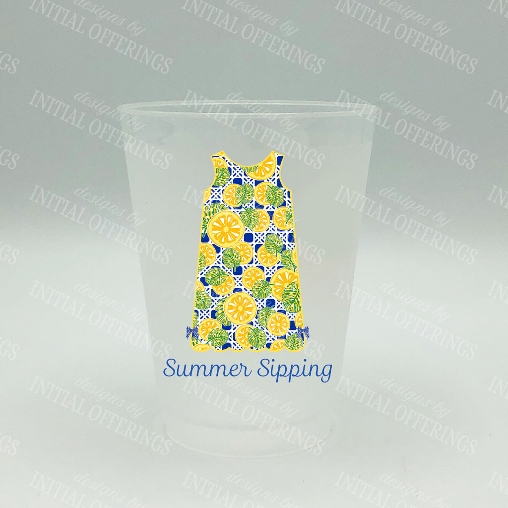 Citrus Print Shift Dress Shatterproof Frost Cups - Personalized