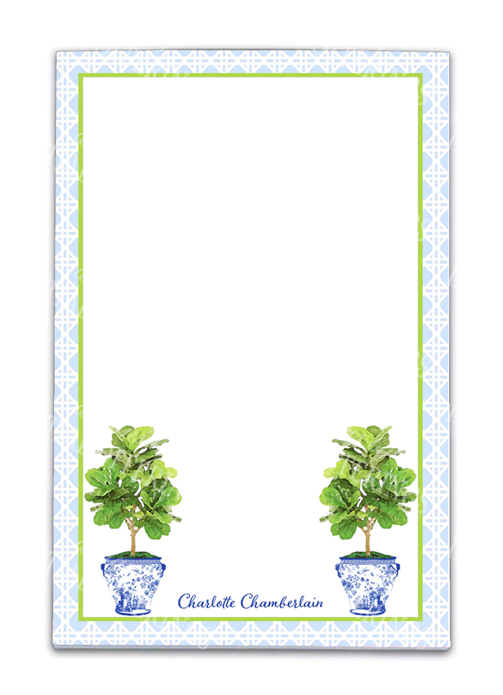 Fiddle Leaf Fig Tree in Blue Planter Notepad