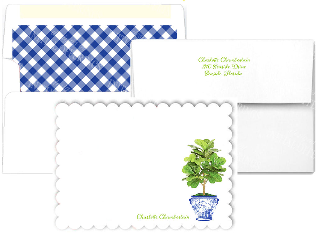 Fiddle Leaf Fig Tree in Blue Planter Scalloped Notecards
